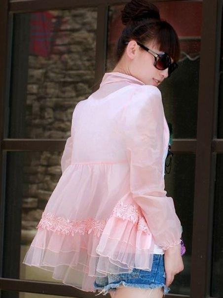 Pink Lace Spliced Flouncing Outerwear Summer Popular Sales Feminine Zipper See-through Long Sleeve Short Coats