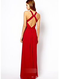 Glamorous Celebrity Dress Cross Belt Ball Gown Sleeveless Halter Backless Maxi Dress