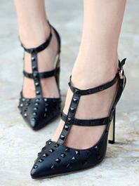 Fashion Latest Popular Fashion Sharp Toe Rivets Color Black Hasp T-belt Thin Heels