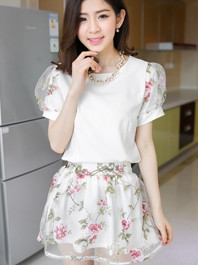 Fresh Rural Style Printing Crewneck Organza Puff Sleeve Closing-Fitting Two Pieces Dresses