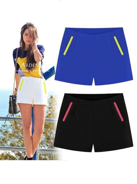 Euro Fashion High Waist Chiffon Shorts 2014 Summer New Arrivals Hot Style Women Spliced Color Block Pocket Hot Pants