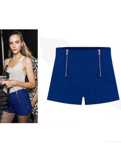 Double Zipper Style High Waist Chiffon Shorts European Fashion 2014 Summer Hot Style Women Solid Color Hot Pants