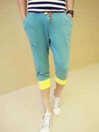 Fresh Style Drawstring Loose Color Pockets Block Cropped Harem Sport Pants