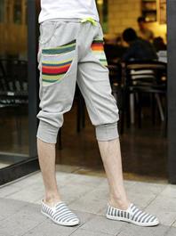 Best Seller Drawstring Pockets Loose Color Block Cropped Harem Sport Pants