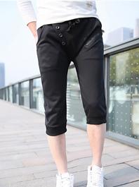 Fashion Popular Drawstring Pockets Zipper Button Color Block Short Harem Sport Pants