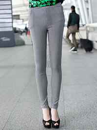 Korean New Arrival Skinny Houndstooth Color Block Pocket Zip Up Long Leggings