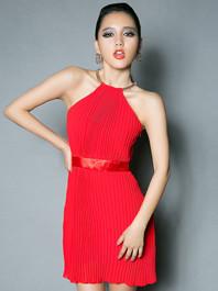 Sexy Charming Looking Halter Off Shoulder Smart Waist Slim Sleeveless Dresses
