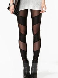 Latest Punk Style Sexy Versatile Asymmetrical Pu Gauze Splicing Closing-Fitting Long Leggings