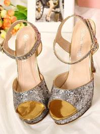 Super Luxury Popular Noble Temperament Queen Style Sequin Decorated Peep-toe Platform Sandals