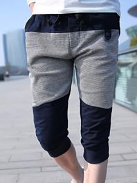 Fantastically Popular Color Block Button Zipper Pockets Drawstring Cropped Harem Pants