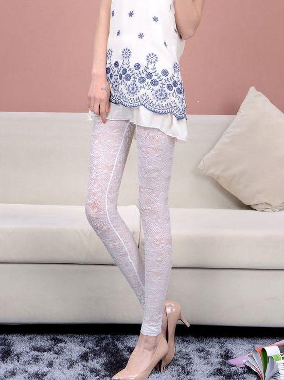 Great Gift Lace Crochet Hollow Leggings Fashion Charming Korea Hot Style Women Elastic Waist Skinny Long Pants