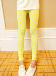 Popular Trendy Gauze Yellow Plaid Printing Natural Waist Versatile Long Leggings