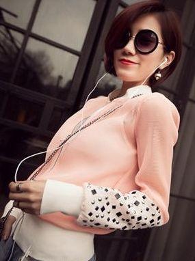 Outdoor Women Rivets Mandarin Collar Long Sleeve Outerwear Sun Protection Gauze Patchwork Zipper Short Coats