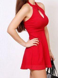 Popular Series Halter Backless Hollow Dress Sexy Female Off Shoulder Solid Color Best Selling Bulk Price Dresses