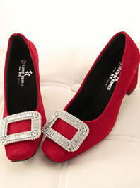 Newest and Hot Item Square Buckle Genuine Leather Chunky Heels Pure Color Diamond Decorated Flats