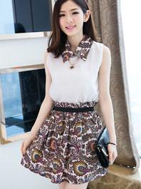 2014 Fresh Style Chiffon Printing Lapel Sleeveless Patch Work Natural Waist Pleated Fitted Versatile Dress