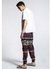 Vintage Style Color Block Totem Pattern Drawstring Pockets Low-Waist Ninth Harem Pants
