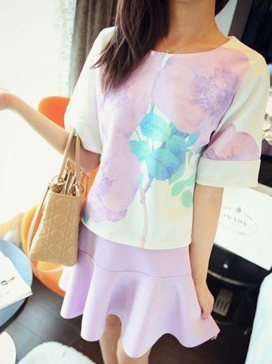 New Updates O-Neck Short Sleeve Flower Tops&High Waist Ruffles Solid Color Short Skirts Women Twinset Dress