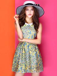 European Style Doll Collar Floral Printing Pearl Studded Slim Waist Sleeveless Dress