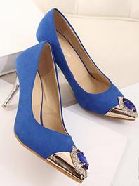 2014 Newest Fashion Luxury Diamond Decorated Sharp Toe Thin Heels Color Block Flats