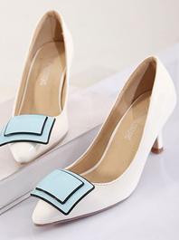 2014 Newest Item Fashion Popular Square Buckle Thin Heels Sharp Toe Thin Heels Flats