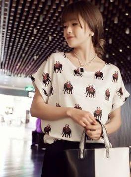 Turn-up Cuff Design O-Neck Short Sleeve Tees 2014 Summer Fashion All-Match Lady Cartoon Animal Patterned T-Shirts