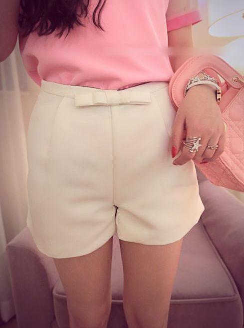 Sweet Bowtie Style High Waist Solid Color Shorts 2014 Summer Girls Slim Fit Design Top Popular Pocket Hot Pants