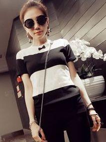 Korean Lady Striped Color Block Short Sleeve T-Shirts Summer All-Match O-Neck Bowtie Bulk Price Tees