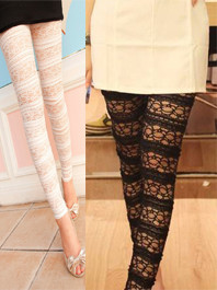 Beauty Luxury Design Lace Hook Flower Solid Color Natural Waist Ninth-Length Sweet Comfortable Leggings