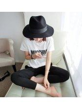 Preppy Style Vintage Looking Letter Pattern Short Sleeve Cotton Blend T-Shirt