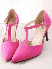 Latest European Feminine Fashion Style Popular Pure Color T-belt Hasp Sharp Toe Sandals