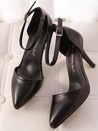 New Item OL Fashion Style Popular Pure Color Joker One-buckle Thin Heels Sharp Toe Sandals