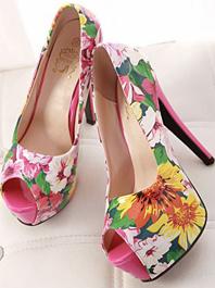 Popular Series Chic Designed Printing Color Block Peep-toe Platform High Thin Heels