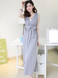 Fashionable Bohemian Empire Waist Plunging V Empire Bow Not Bandage Comfortable Cotton Sleeveless Cotton Maxi Dress