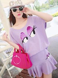 Korean Individual Design Cozy Wear Sequins Printing Ruffles Short Sleeve Two Piece Dress