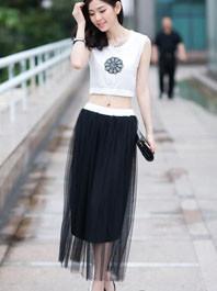 Hot Popular Round Collar Expositive Embroidery Big Skirt Sexy Waist Sleeveless Two Pieces Dress