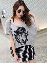 Women Loose 2014 Summer Fashion Printing Stripe Batwing Sleeve Two Piece Dress