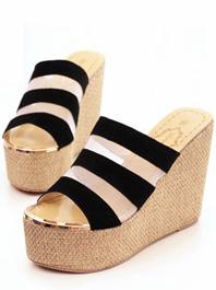 2014 Newest Summer Stripe Color Block Gauze Wedge Open-toe Platform Slippers
