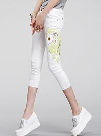 Junoesque Feminine Style All Match Sequins Beading Three-Quarter Long Pants