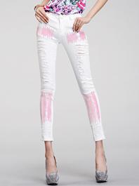 Intellectual Temperament Van Style Holes Sequins Back Pockets Ninth Pants