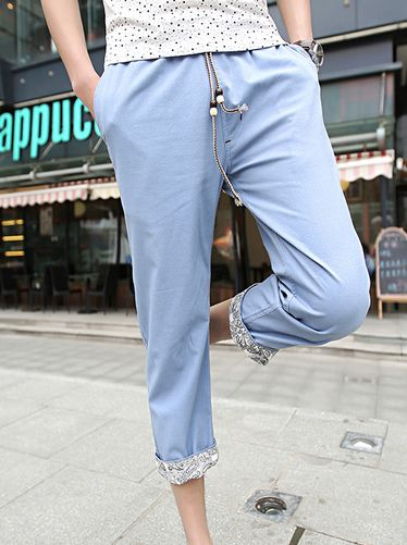 The Most Popular Floral Pattern Ruffle Drawstring Color Block Cropped Fitted Pants