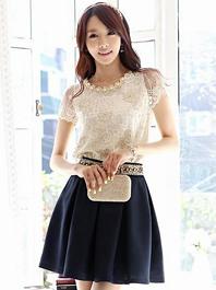 Intellectual Temperament Van Pearl Round Neck High Waist Skirts Two Piece Dress