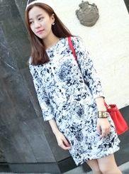 Deft Designed Fashion Popular Floral Color Block Three-quarter Sleeve Round Collar Dress