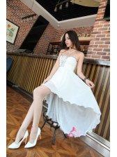 First- Class Vintage Great Chiffon High Waist Studded V Neck Asymmetrical Hem Ball Gown Charming Tube Top Dress