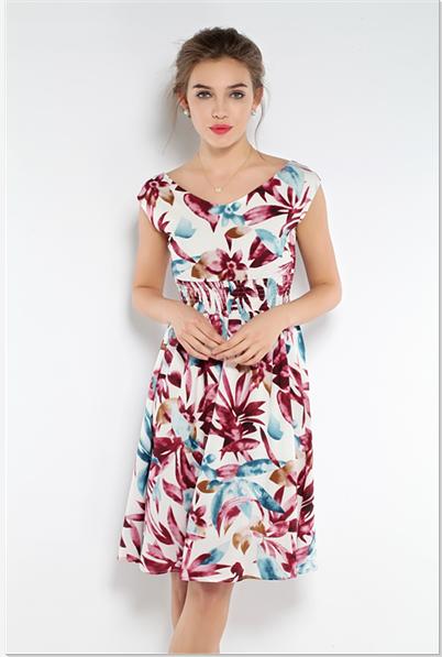 Romance Fluorescence Style Sleeveless Floral Backless Women Ruffles Dress