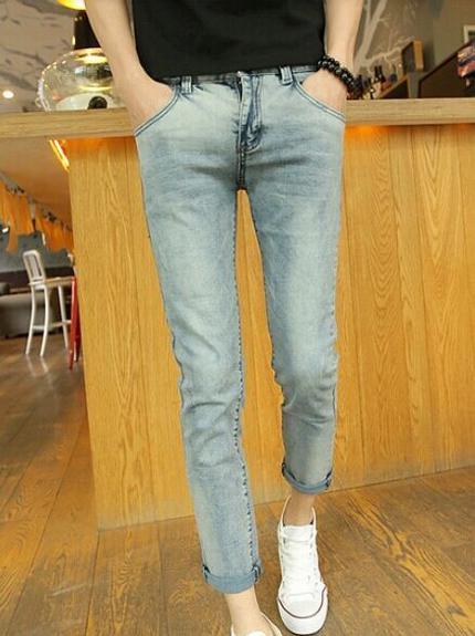 Men 2014 Spring And Summer Skinny Color Block Zipper Up Pockets Low Waist Ninth Pants