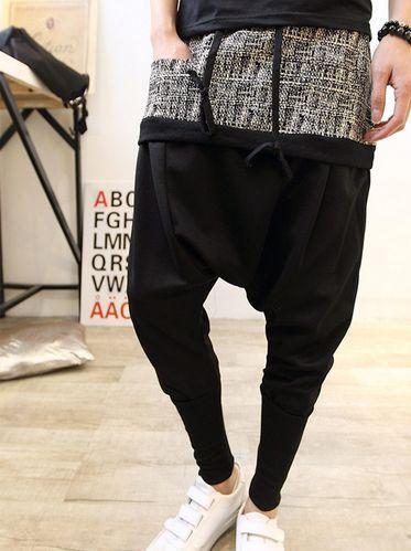 Special Design Pockets Color Block Low Waist Drawstring Harem Long Pants