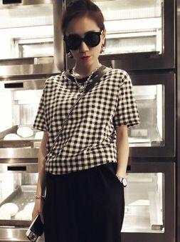 Unisex Style O-Neck Short Sleeve Plaid Tees 2014 Summer Fashion Color Block Korean Casual Top Popular T-Shirts