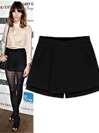 Intellectual Temperament Van Side Pocket Mid Waist Black Women Short Pants