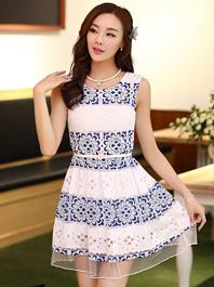 2014 New Hot Classics Plus Sizes Round Neck Ruffles Floral Sleeveless Lace Dress